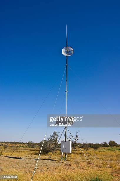 A solar powered satellite dish at a rangers station in a remote desert