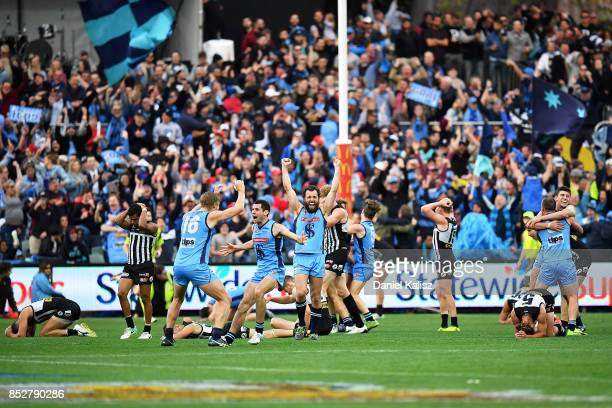Sturt players celebrate at the final siren during the SANFL Grand Final match between Port Adelaide and Sturt at AAMI Stadium on September 24 2017 in...