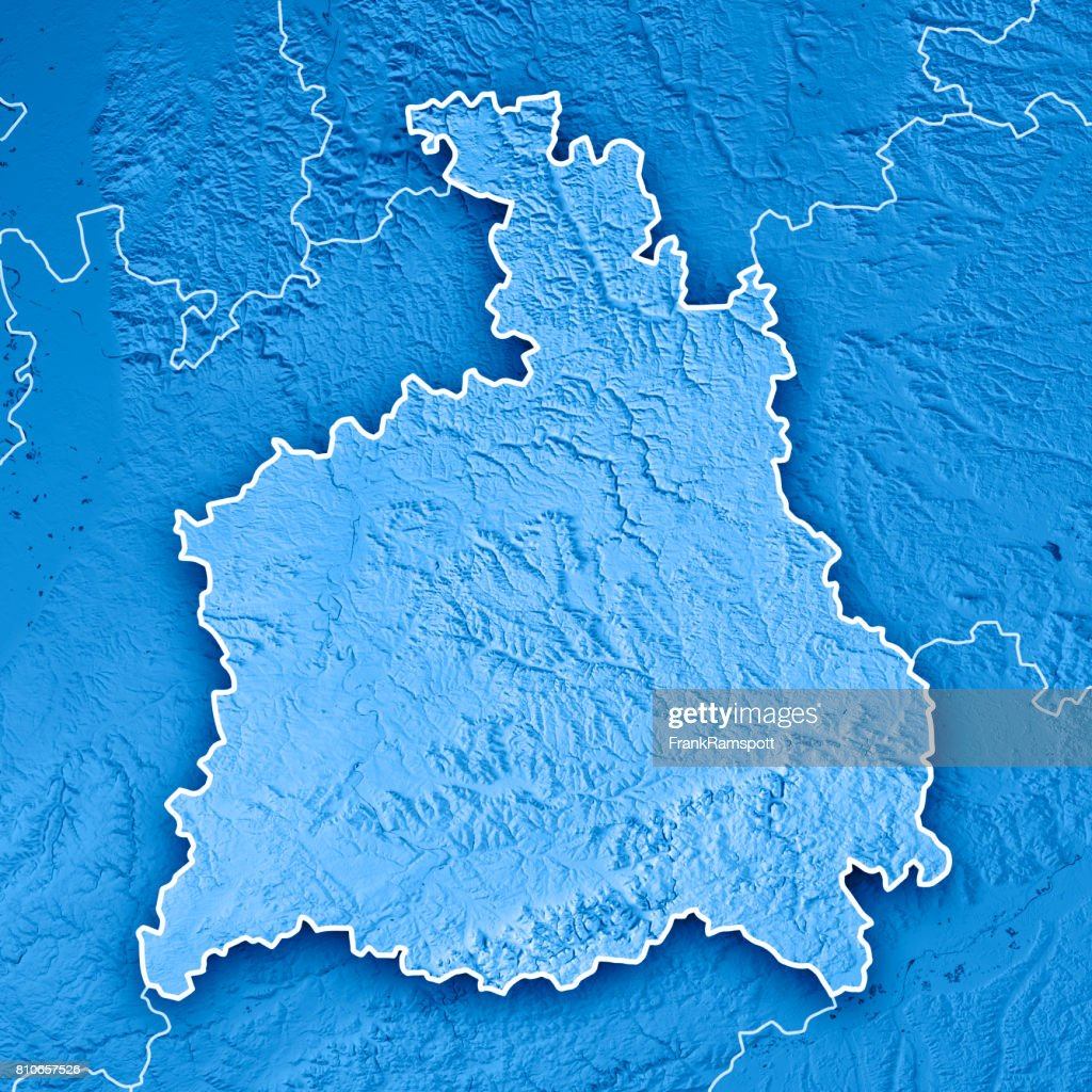 Stuttgart Administrative Region Baden-Württemberg 3D Render Topographic Map Blue Border : Stock Photo