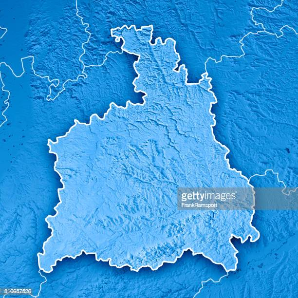 Stuttgart Administrative Region Baden-Württemberg 3D Render Topographic Map Blue Border