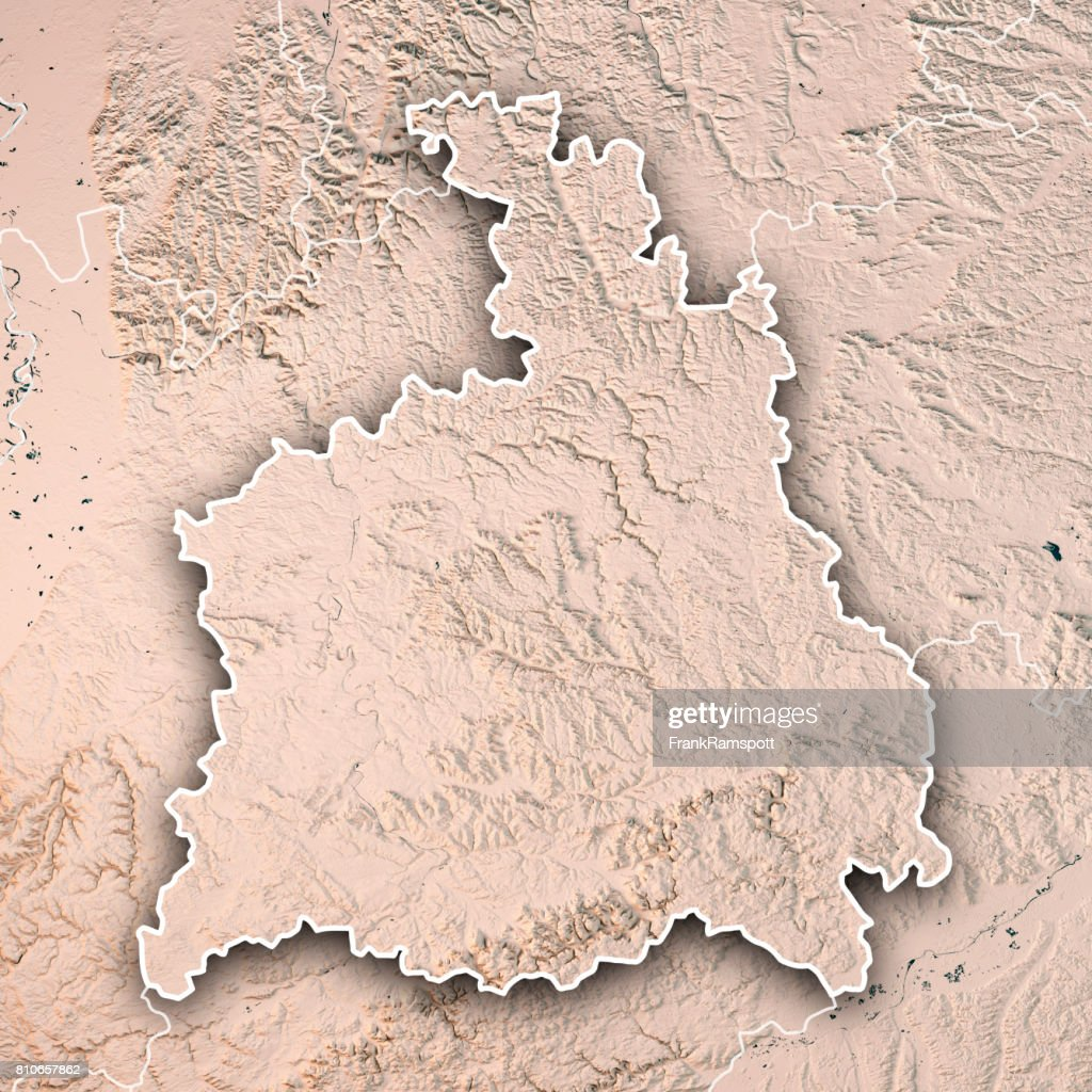 Stuttgart Administrative Region Baden-Württemberg 3D Render Topographic Map Neutral Border : Stock Photo