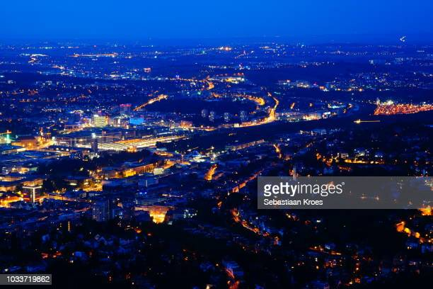 Stuttgart at Night, Overview, Long Exposure, Germany