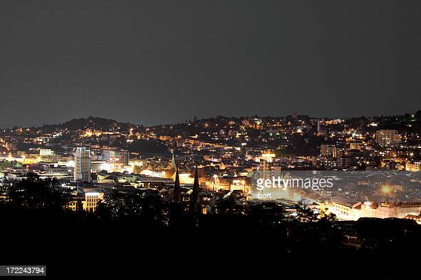 stuttgart at night - stuttgart stock pictures, royalty-free photos & images