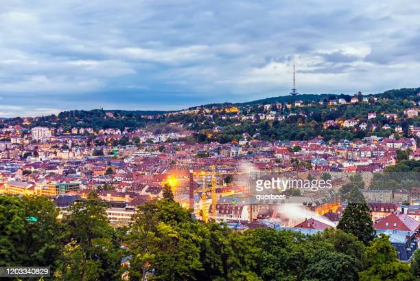 stuttgart at sunset - stuttgart stock pictures, royalty-free photos & images