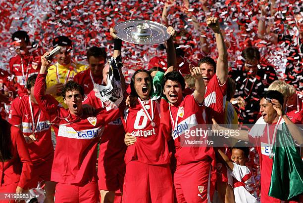 Stuttgart celebrate with the German championship trophy after the Bundesliga match between VfB Stuttgart and Energie Cottbus at the Gottlieb Daimler...