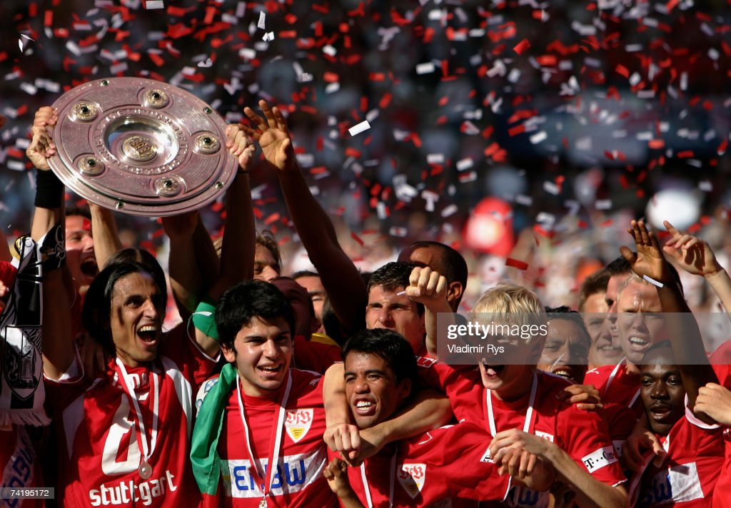 Stuttgart celebrates with the German championship trophy after the Bundesliga match between VfB Stuttgart and Energie Cottbus at the Gottlieb Daimler stadium on May 19, 2007 in Stuttgart, Germany.