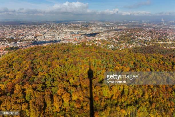 Stuttgart cityscape, TV tower casts shadows on forest, Stuttgart, Baden-Wuerttemberg, Germany