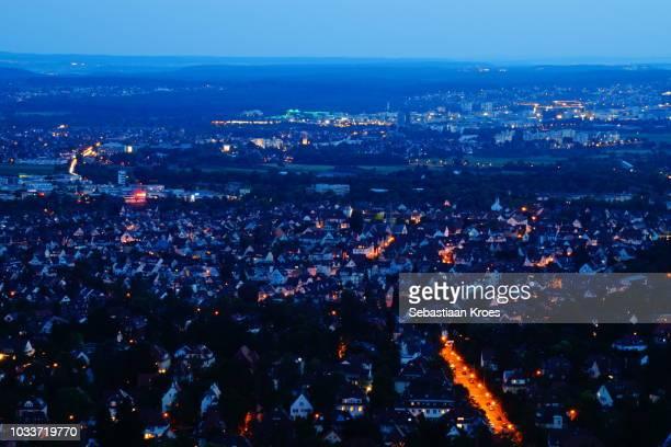Stuttgart Degerloch, Aerial overview, Long exposure, Germany