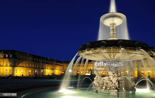 stuttgart fountain and palace night - stuttgart stock pictures, royalty-free photos & images