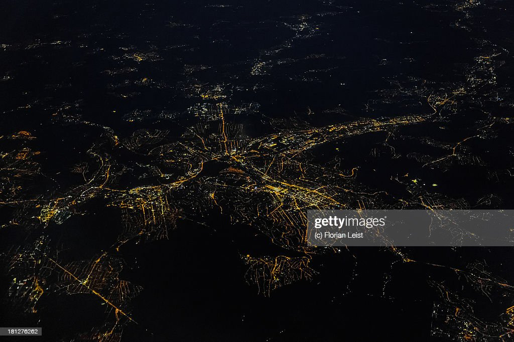 Stuttgart from the Air at Night : Stockfoto