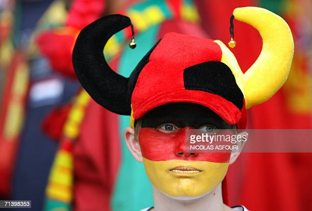 Germany supporter is pictured ahead of the start of the third-place playoff 2006 World Cup football match between Germany and Portugal at Stuttgart's...