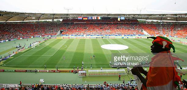 An Ivory Coast supporter looks out over Stuttgart's GottliebDaimler Stadium before the opening round Group C World Cup football match between the...