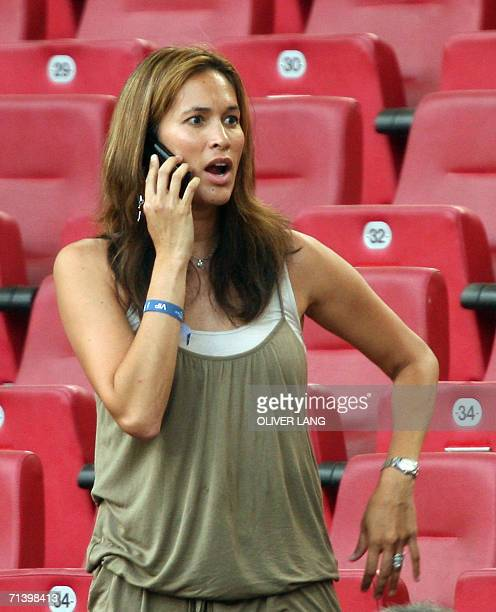 Debbie Klinsmann the wife of German head coach Juergen Klinsmann is seen prior to the World Cup 2006 third place playoff football game Germany...