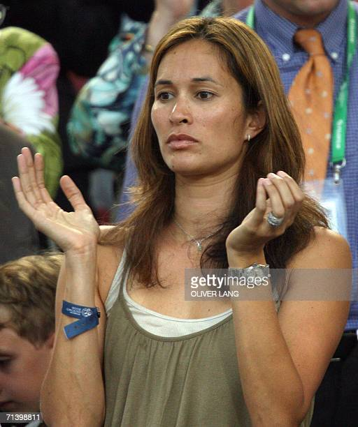 Debbie Klinsmann USborn wife of German head coach Juergen Klinsmann applauds at the start of the thirdplace playoff 2006 World Cup football match...