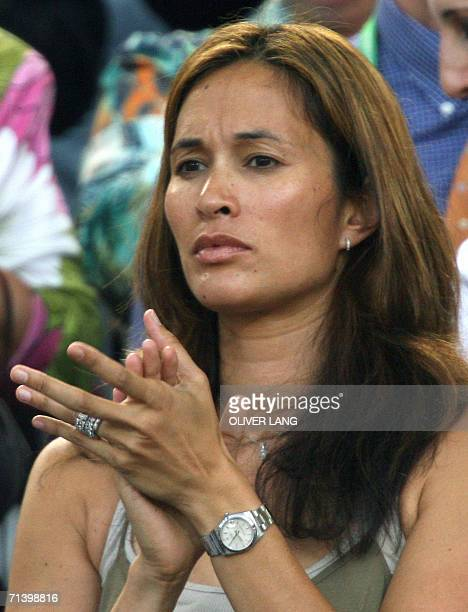Debbie Klinsmann USborn wife of German head coach Juergen Klinsmann looks on at the start of the thirdplace playoff 2006 World Cup football match...
