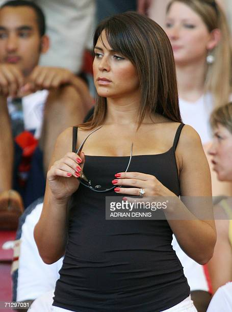 English defender Wayne Bridge's girlfriend Vanessa Perroncel attends the round of 16 World Cup football match between England and Ecuador at...