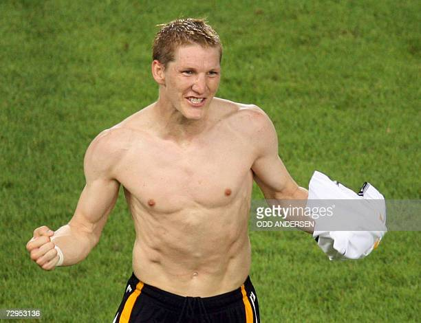 FILES Picture taken 08 July 2006 shows German midfielder Bastian Schweinsteiger celebrating his second goal during the thirdplace playoff 2006 World...