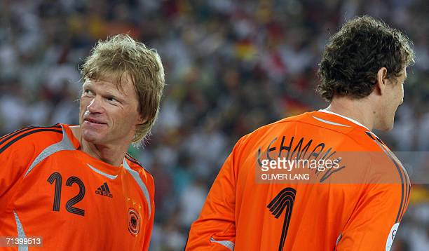 German goalkeeper Oliver Kahn is pictured with German goalkeeper Jens Lehmann after their victory in the third-place playoff 2006 World Cup football...
