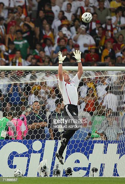 German goalkeeper Oliver Kahn takes part in a team warm up session before the start of the third-place playoff 2006 World Cup football match between...