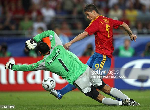 Spanish forward Fernando Torres attempts a shot as Tunisian goalkeeper Ali Boumnijel defends during the opening round Group H World Cup football...