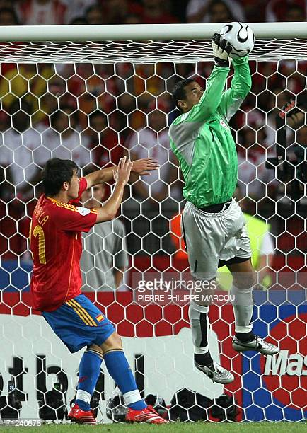 Tunisian goalkeeper Ali Boumnijel grabs a shot as Spanish forward David Villa looks on during the opening round Group H World Cup football match...