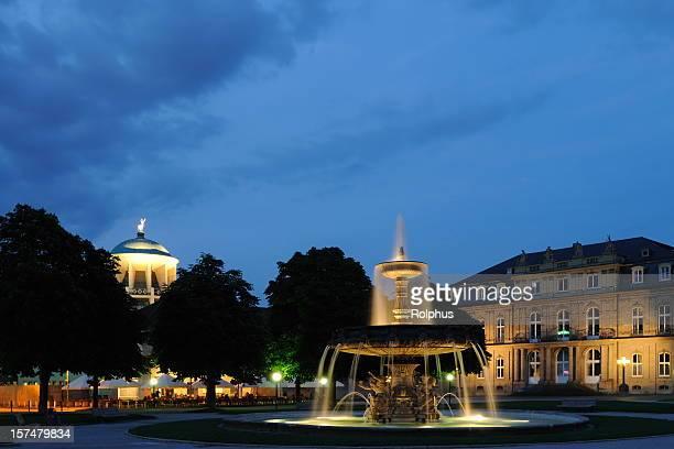 Stuttgart Illuminated New Palace with Fountain