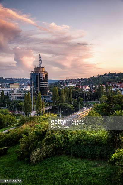 stuttgart löwentor at dusk - stuttgart stock pictures, royalty-free photos & images