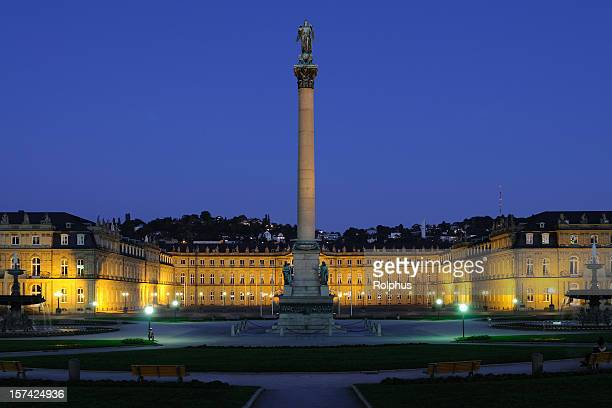 stuttgart new palace with victory column blue hour - stuttgart stock pictures, royalty-free photos & images