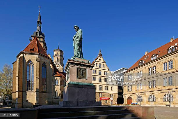stuttgart, schiller statue at schillerplatz - stuttgart stock pictures, royalty-free photos & images