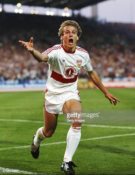 Stuttgart striker Jurgen Klinsmann celebrates after scoring the first Stuttgart goal in the 1989 UEFA Cup Final second leg between VFB Stuttgart and...