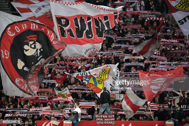 Stuttgart supporters cheer during the Second Bundesliga match between VfB Stuttgart and VfL Bochum at MercedesBenz Arena on March 10 2017 in...