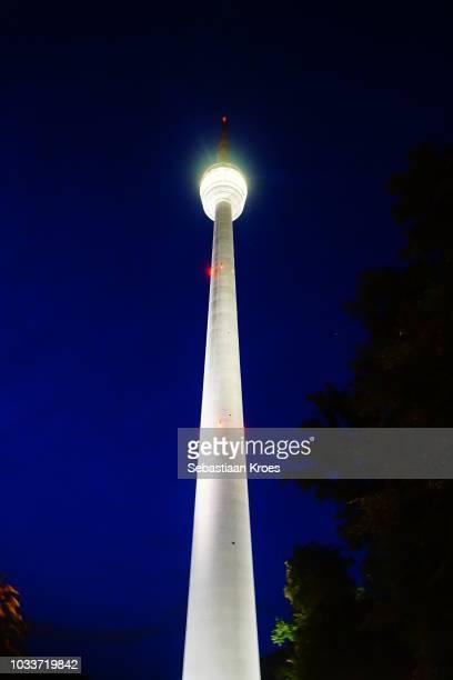 Stuttgart TV Tower at Night, Clear Blue Sky, Stuttgart, Germany