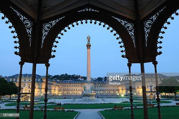 stuttgart victory column twilight view pavillon - stuttgart stock pictures, royalty-free photos & images