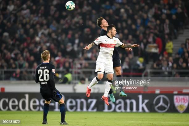 Stuttgart's Anastasios Donis and Berlin's Niklas Stark vie for the ball during the German Bundesliga football match between VfB Stuttgart and Hertha...