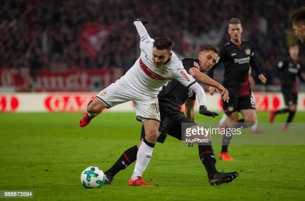 Stuttgarts Anastasios Donis in a duel with Leverkusens Dominik Kohr during the Bundesliga match between VfB Stuttgart and Bayer 04 Leverkusen at...