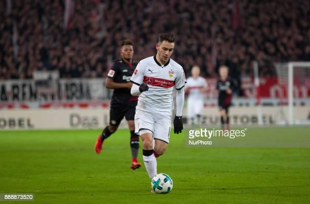 Stuttgarts Anastasios Donis initiates a counter during the Bundesliga match between VfB Stuttgart and Bayer 04 Leverkusen at MercedesBenz Arena on...