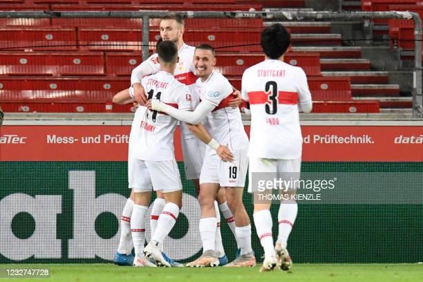Stuttgart's Austrian forward Sasa Kalajdzic celebrates scoring the 2-1 goal with his teammates during the German first division Bundesliga football...