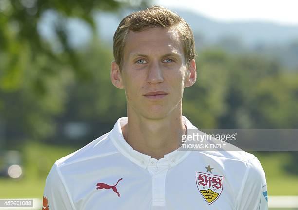 Stuttgart's Austrian midfielder Florian Klein poses during the team presentation of the German first division Bundesliga football team VfB Stuttgart...