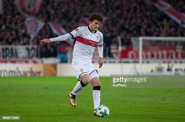 Stuttgarts Benjamin Pavard initiates a counter during the Bundesliga match between VfB Stuttgart and Bayer 04 Leverkusen at MercedesBenz Arena on...