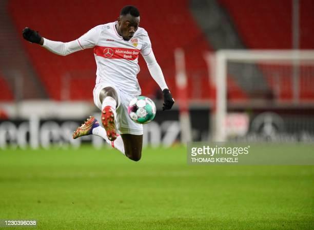 Stuttgart's Congolese forward Silla Wamangituka controls the ball during the German first division Bundesliga football match VfB Stuttgart v RB...