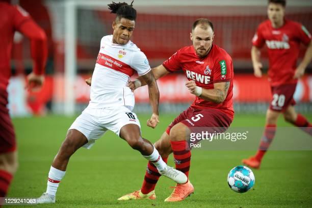 Stuttgart's Daniel Didavi in action against Cologne's Rafael Czichos during the Bundesliga match between VfB Stuttgart and 1. FC Koeln at...