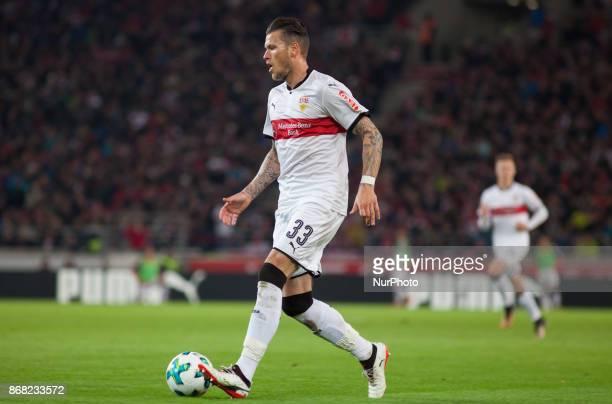 Stuttgarts Daniel Ginczek initiates a counter during the Bundesliga match between VfB Stuttgart and SportClub Freiburg at MercedesBenz Arena on...