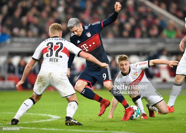 Stuttgart's defender Andreas Beck and Argentinean midfielder Santiago Ascacibar vie for the ball during the German first division Bundesliga football...