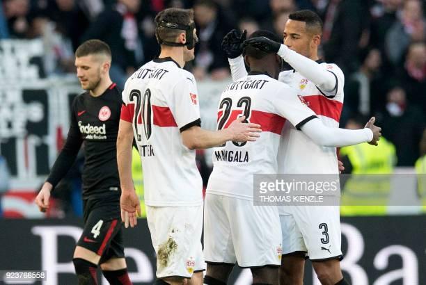 Stuttgart's defender Dennis Aogo Belgian midfielder Orel Mangala and midfielder Christian Gentner react after the German first division Bundesliga...