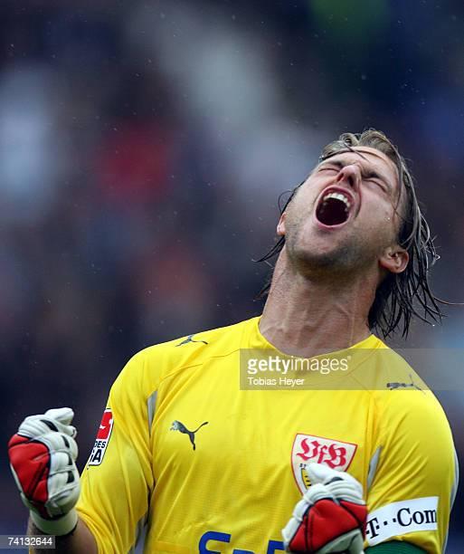 Stuttgart's goalkeeper Timo Hildebrand celebrates the 2:2 goal during the Bundesliga match between VfL Bochum and VfB Stuttgart at the Rewirpower...
