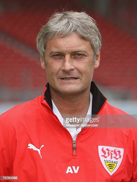 Stuttgarts head coach Armin Veh poses during the Bundesliga 1st Team Presentation of VfB Stuttgart at the GottliebDaimler stadium on July 9 2007 in...