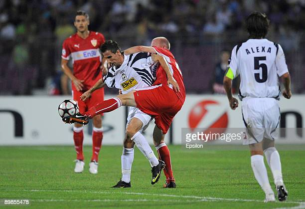 Stuttgart's Ludovic Magnin in action against Timisoara's Stelian Stancu during the UEFA Champions League qualifying match between between FC...
