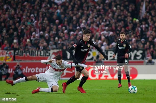 Stuttgarts Marcin Kaminski in a duel with Leverkusens Kai Havertz during the Bundesliga match between VfB Stuttgart and Bayer 04 Leverkusen at...