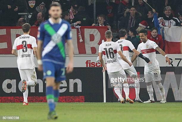 Stuttgart's midfielder Daniel Didavi celebrates scoring the 31 goal during the German first division Bundesliga football match VfB Stuttgart vs VfL...