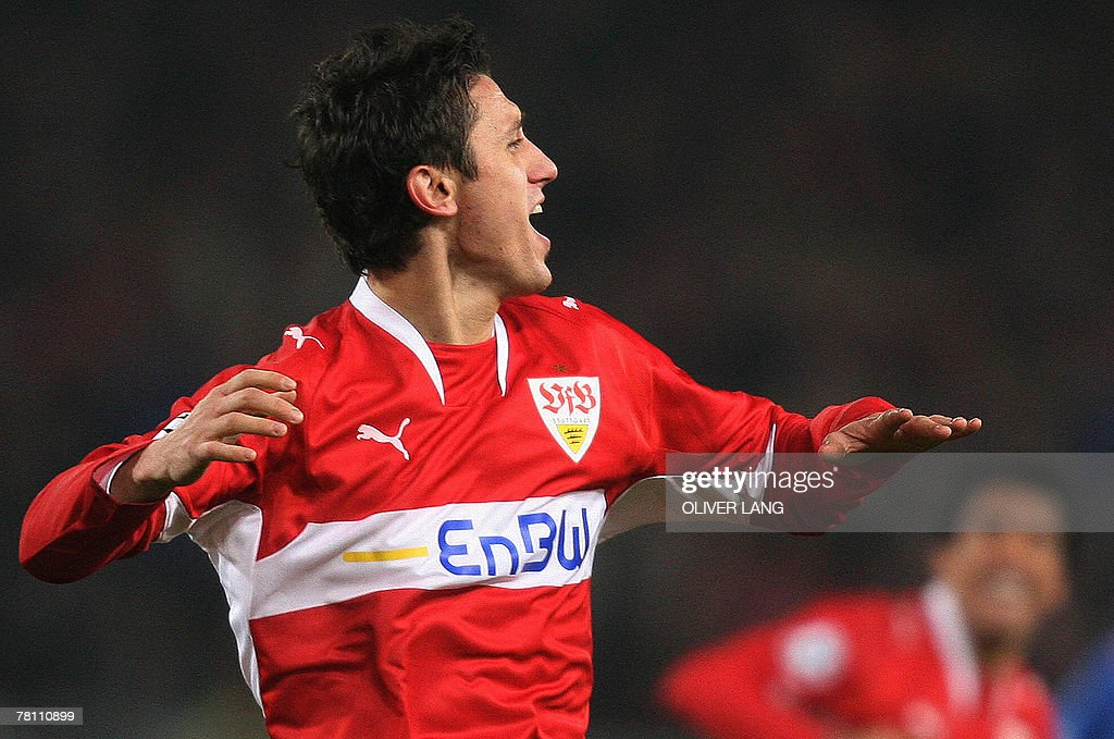 Stuttgart's Romanian striker Ciprian Marica celebrates after scoring the 3-2 against Glasgow Rangers during their Champions League group E football match 27 November 2007 at the Gottlieb-Daimler stadium in Stuttgart, southern Germany.